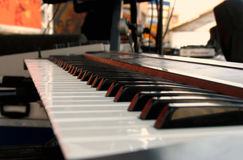 Keyboard on hold. View from the side of a keyboard, on a stage stock photography