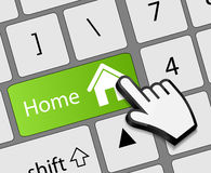 Keyboard Home button with mouse hand cursor vector Royalty Free Stock Images