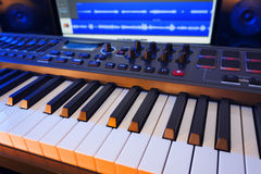 Keyboard in Home Music Studio Stock Photography