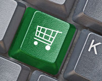 Keyboard with hot key for shopping Royalty Free Stock Images