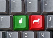 Keyboard with hot keys for dog and cat. Keyboard with colorful hot keys for dog and cat Stock Image