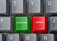 Keyboard with hot keys for upload and download Stock Photo