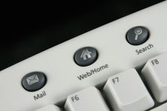 Keyboard hotkeys. White classic keyboard hotkeys: Mail, Web/Home, Search Royalty Free Stock Photography