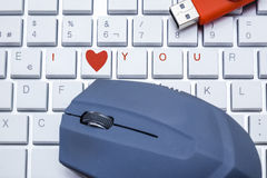 Keyboard with i love you Stock Photos