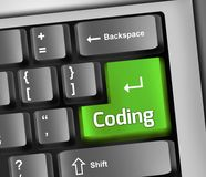 Keyboard Illustration Coding. Keyboard Illustration with Coding wording Royalty Free Stock Images