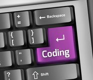 Keyboard Illustration Coding. Keyboard Illustration with Coding wording Stock Images