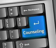 Keyboard Illustration Counseling. Keyboard Illustration with Counseling wording Stock Image