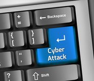 Keyboard Illustration Cyber Attack. Keyboard Illustration with Cyber Attack wording Stock Image