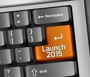 Keyboard Illustration Launch 2015. Keyboard Illustration with Launch 2015 wording Stock Photo