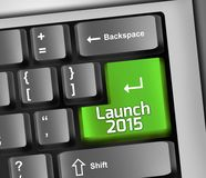 Keyboard Illustration Launch 2015. Keyboard Illustration with Launch 2015 wording Royalty Free Stock Images