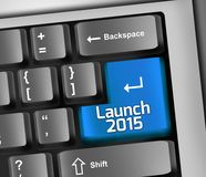 Keyboard Illustration Launch 2015. Keyboard Illustration with Launch 2015 wording Royalty Free Stock Photos