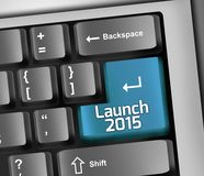 Keyboard Illustration Launch 2015. Keyboard Illustration with Launch 2015 wording Royalty Free Stock Photography