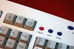 Keyboard internet. Keyboard detail, with internet button turn red Stock Image