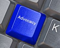 Key for advocacy. Keyboard with Key for advocacy royalty free stock images