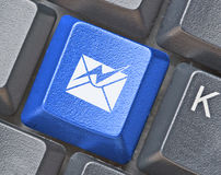 Keyboard with key with E-mail symbol Stock Images