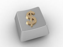 Keyboard key with gold dollar sign. Stock Images