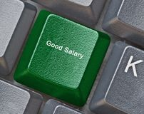 Keyboard for good salary. Keyboard with key good salary stock photography
