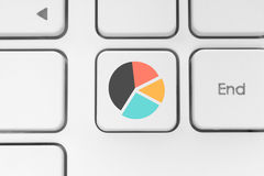 Keyboard key with graph icon Royalty Free Stock Images