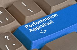 Key for performance appraisal. Keyboard with key for performance appraisal Royalty Free Stock Photos