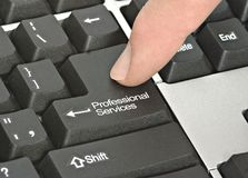 Key for professional services. Keyboard with key for professional services royalty free stock photography