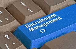 Key for recruitment management. Keyboard with key for recruitment management Royalty Free Stock Photos