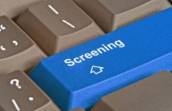 Key for screening. Keyboard with key for screening Royalty Free Stock Photography