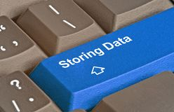 Key for storing data. Keyboard with key for storing data Royalty Free Stock Photo