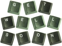 Keyboard key words get well soon Stock Image