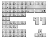 Keyboard keys. Alphabet, numbers and some other keyboard isolated on white background. Vector available Royalty Free Stock Photo