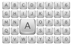 Keyboard Keys. With Alphabet Letters - Isolated on White vector illustration