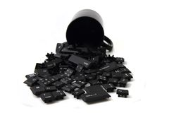 Keyboard keys in the black pot Royalty Free Stock Image