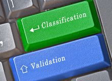 Keys for classification and validation. Keyboard with keys for classification and validation Stock Photo