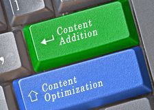 Keys for content addition and optimization Stock Photography