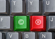 Keyboard with keys for copyright. Keyboard with two colored keys for copyright Stock Image