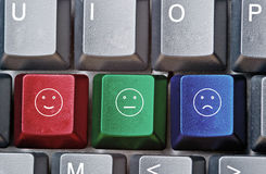 Keyboard with keys for emoticons Stock Images