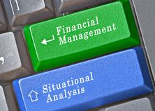 Keys for financial management and situational anal. Keyboard with keys for financial management and situational analysis Stock Photos