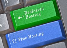 Keys for free and dedicated hosting. Keyboard with keys for free and dedicated hosting Royalty Free Stock Photography