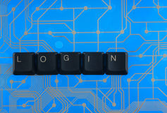 Keyboard keys laid out the word  login Stock Photos