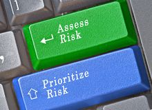 Keys for risk assessment and prioritization. Keyboard with keys for risk assessment and prioritization Royalty Free Stock Photos