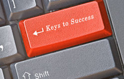 Keyboard with keys for success stock photos