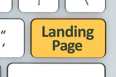 Keyboard with landing page button. Computer white keyboard with Royalty Free Stock Photography