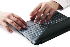 Keyboard of laptop with hands Stock Images