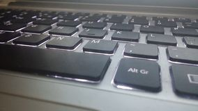 Keyboard. Laptop, keyboard, lighted keys, qwerty royalty free stock photography