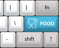 Keyboard layout with food button Royalty Free Stock Photo