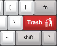 Keyboard layout with trashcan Stock Image