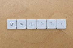 Keyboard Letters-QWERTY. Keyboard letters spell qwerty against a desk background Stock Photos