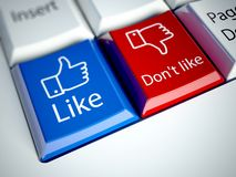 Keyboard and Like button, social network concept royalty free illustration