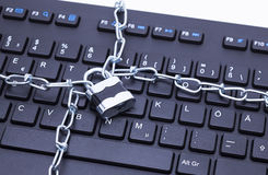 Keyboard lock chain Royalty Free Stock Image