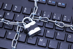 Keyboard lock chain Royalty Free Stock Images