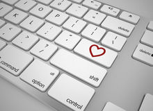 Keyboard love button. 3d high quality render Royalty Free Stock Photos
